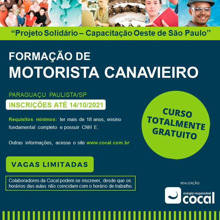 Inscrições para o curso gratuito de motoristas carreteiros da Cocal Energia terminam hoje